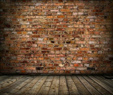 oude grunge inter met bakstenen muur en vloer Stockfoto