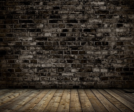 ancient brick wall: interior with brick gray wall and wood floor background