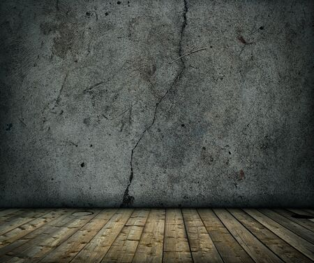 old grunge concrete room with wooden floor background Stock Photo