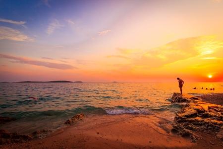 rise: beautiful sunset over Croatia and the Adriatic Mediterranean sea
