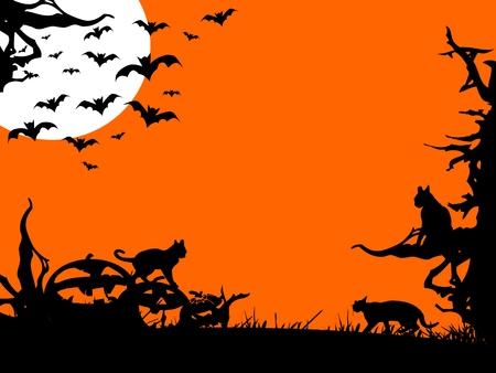 Halloween nigh - three color background illustration