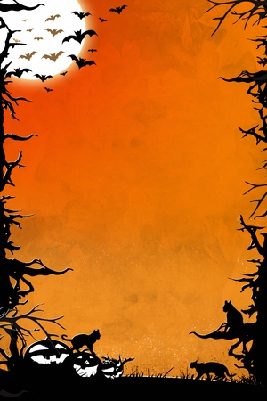Halloween night orange vertical background graphic with trees, bats, cats and pumpkins
