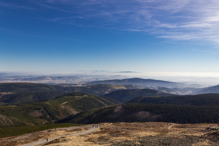 czech republic: Beautiful Autumn view from Karkonosze Mountains, View from Sniezka