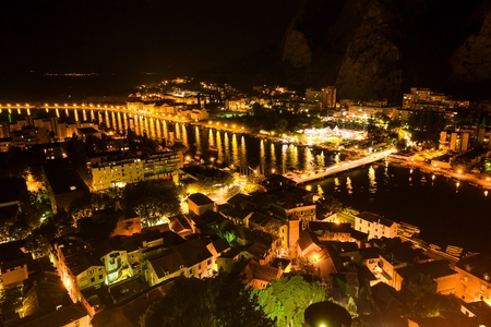 croatia: Aerial View of Omis and Cetina River at Night, Dalmatia, Croatia