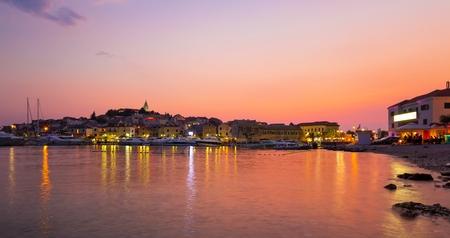 purple sunset: Beautiful purple sunset over the Adriatic sea in Primosten, Croatia
