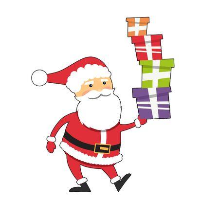 white boxes: Funny Santa Claus with xmas gift boxes isolated on white