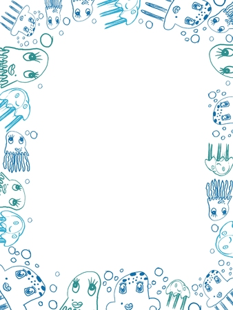 kinder: childrens blue jellyfish drawings vertical frame isolated on white Stock Photo