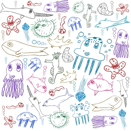 creatures: sea creatures, child drawing seamless background isolated on white