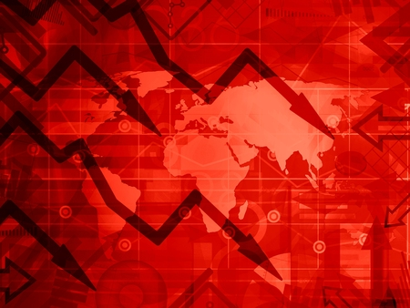 global crisis: the global crisis - red background concept illustration