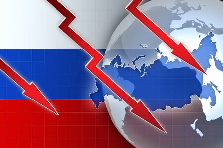 russian: Russian currency ruble crisis - concept news background illustration Stock Photo