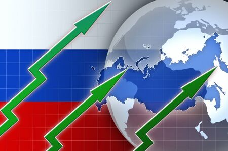 news background: Financial growth in Russia - concept news background illustration