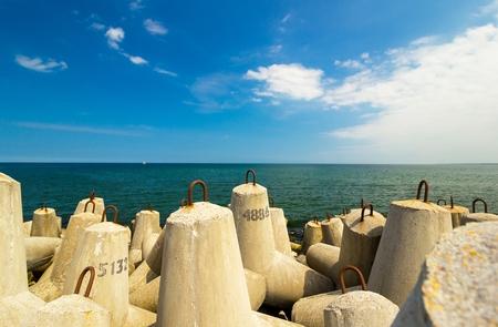 coastlines: concrete block break water at baltic sea