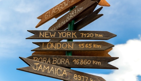 wooden brown sign with the names of cities and distances
