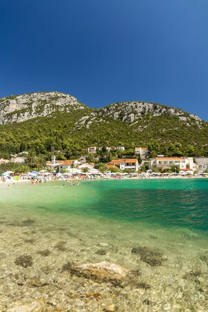 bosnia hercegovina: Beautiful beach in Croatia, Klek resort near Bosnia and Hercegovina, vertical landscape