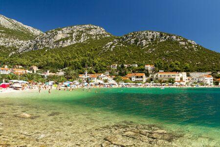Beautiful beach at Mediterranean Sea, Klek resort near Bosnia and Hercegovina in Croatia, Europe