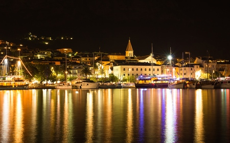 Makarska, beautiful night landscape cityscape, Croatia, Europe Reklamní fotografie