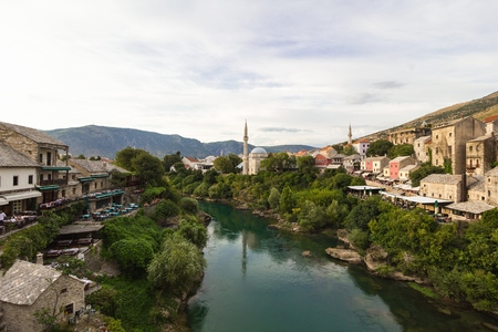 Evening scene in Mostar with the medieval town, the Neretva river in Bosnia Herzegovina, Europe