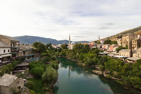 bosnia hercegovina: Evening scene in Mostar with the medieval town, the Neretva river in Bosnia Herzegovina, Europe
