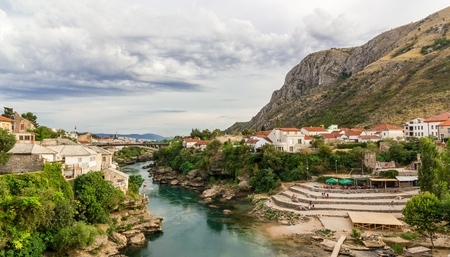 Beautiful landscape of the city of Mostar and minaret in the background, Bosnia and Herzegovina