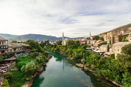 Beautiful panorama of the city of Mostar and minaret in the background, Bosnia and Herzegovina, Europe