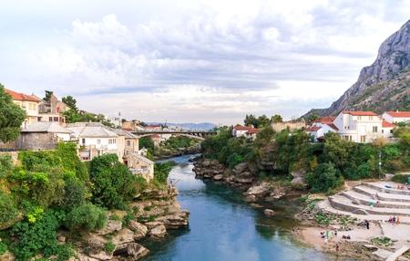 bosnia hercegovina: Neretva river, the city of Mostar, Bosnia and Herzegovina, Europe