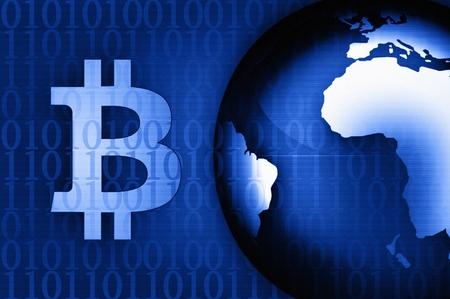 Bitcoin symbol on news background blue illustration