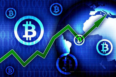 Bitcoin currency growth - concept news blue background illustration