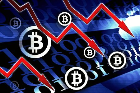 Bitcoin currency crisis - concept news background illustration