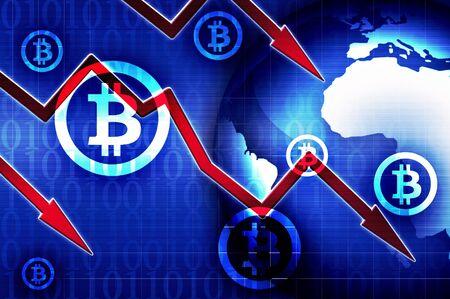 bankrupt: Bitcoin currency crisis news background illustration