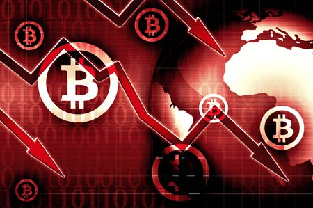 Bitcoin currency crisis red news background illustration