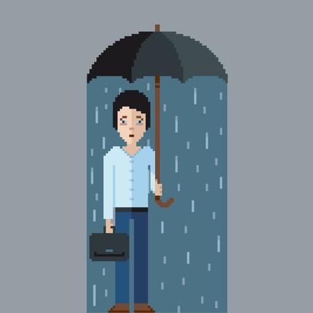 Sad man with umbrella in the rain, pixel art video game style illustration