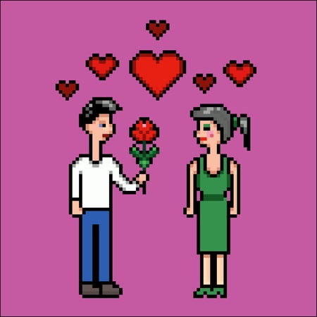 Valentines day, boy, girl and flower, pixel art vector illustration