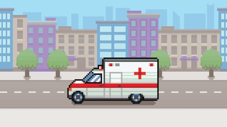 Ambulance car, city background pixel art video game style layer vector illustration Ilustracja