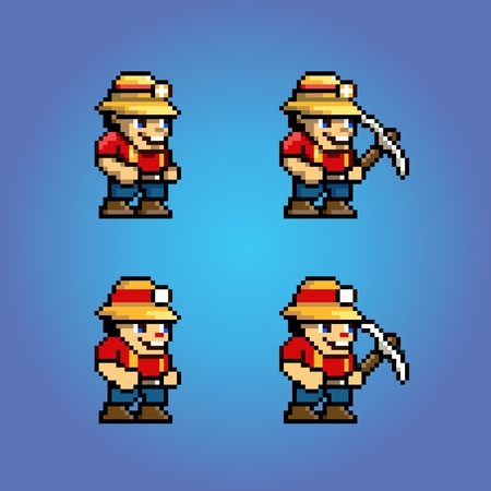 Funny adventure video game pixel art character