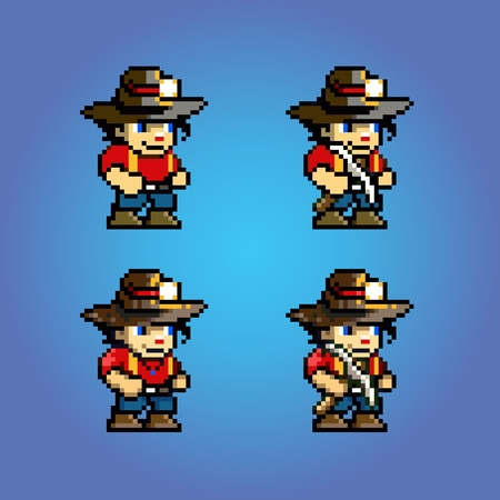 Pixel art adventure game character, video game style layer vector illustration Ilustracja