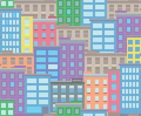 Seamless city town pixel art background, vector illustration Ilustracja