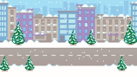Pixel art empty winter city vector pattern background layer illustration