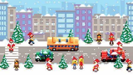 Pixel art xmas city scenery vector pattern background illustration