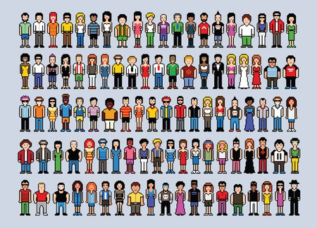 Set of pixel art people avatars, video game style vector illustration isolated