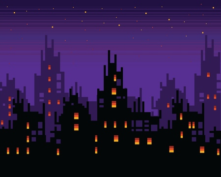 Haunted city at night, spooky pixel art town landscape, vector layer background illustration Vectores