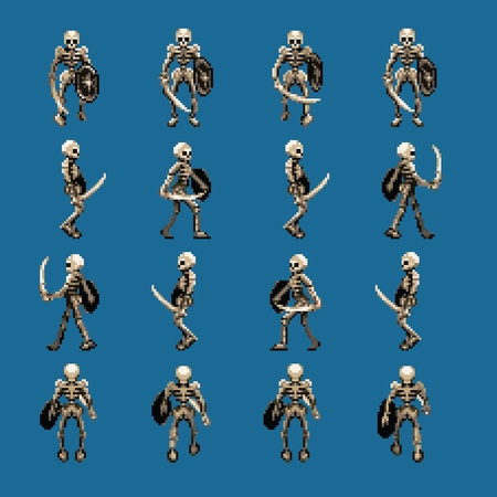 Skeleton walk animation cycle sprites, four directions, retro video game pixel art style
