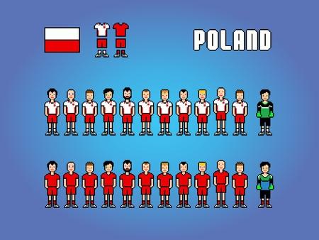 Poland football soccer player uniform pixel art game illustration Ilustracja