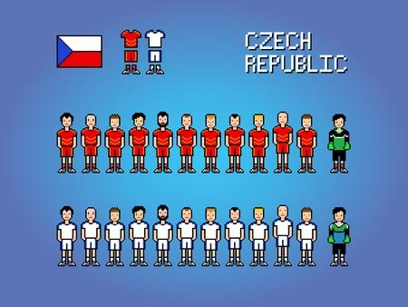 Czech Republic football soccer player uniform pixel art game illustration