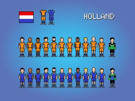 Holland national football team, pixel art video game illustration Ilustracja