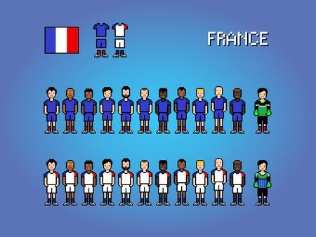 France national football team, pixel art video game illustration