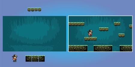 Platform game pixel art graphics kit, video retro game vector illustration Ilustracja