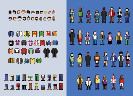 Pixel art man avatar creator, set of video game style elements, isolated vector illustration