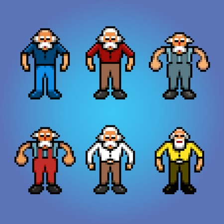 Older people, senior pensioner pixel art avatars illustration