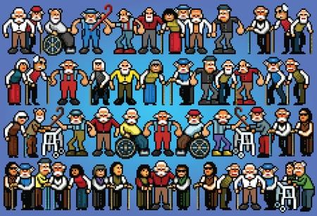 Set of pixel art elderly senior people crowd vector illustration