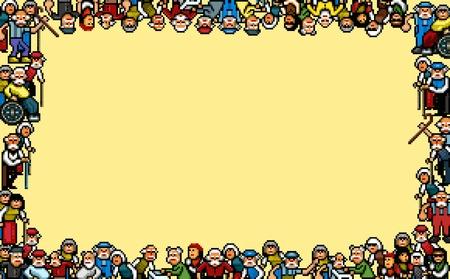 Old people photo frame - pixel art vector illustration Ilustracja